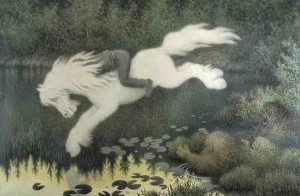 Gutt på hvit hest (Boy on white horse) by Theodor Kittelsen copy