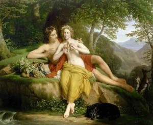 05. Hersent, Louis - Daphnis And Chloe - The Flute Lesson,  c.1850 copy